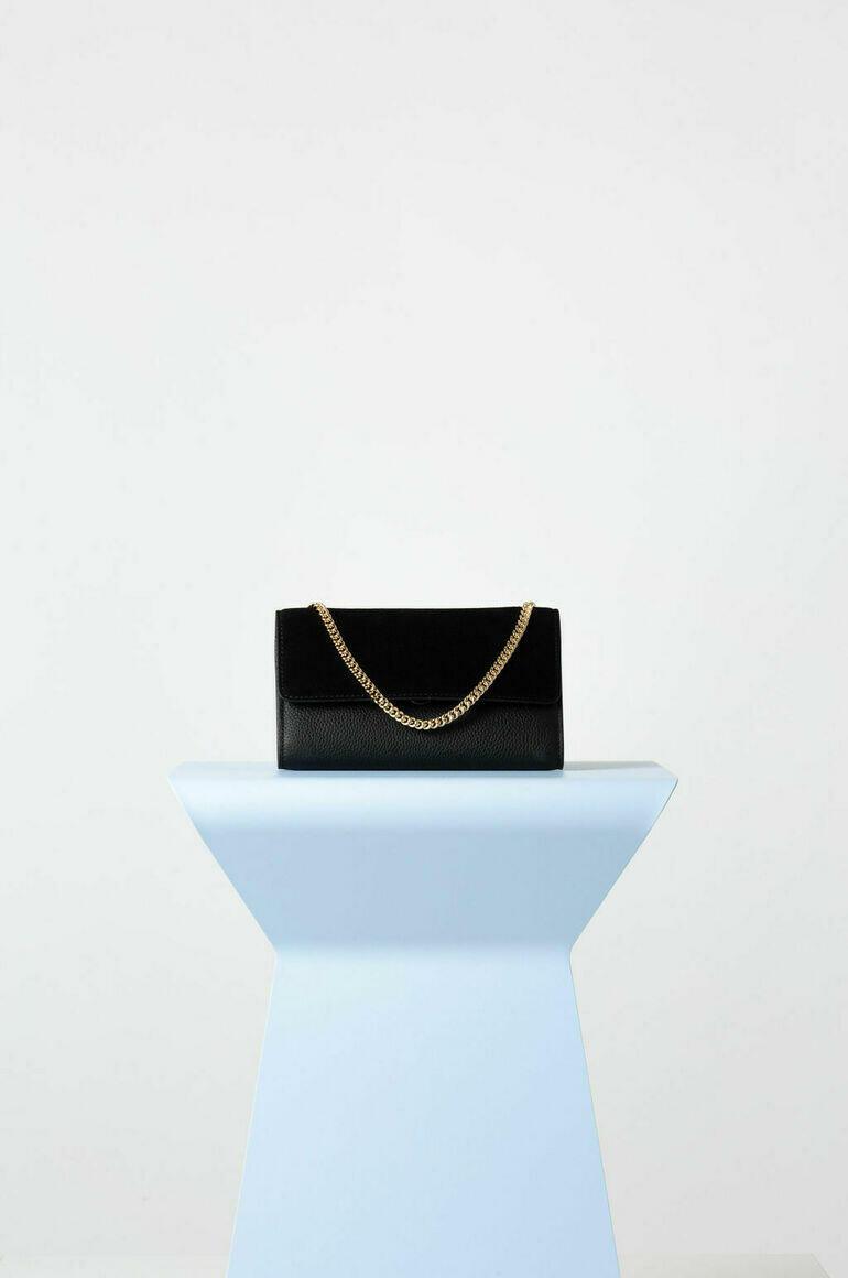 Frankie Foldover Mini Bag in Black + Suede   Trada Marketplace