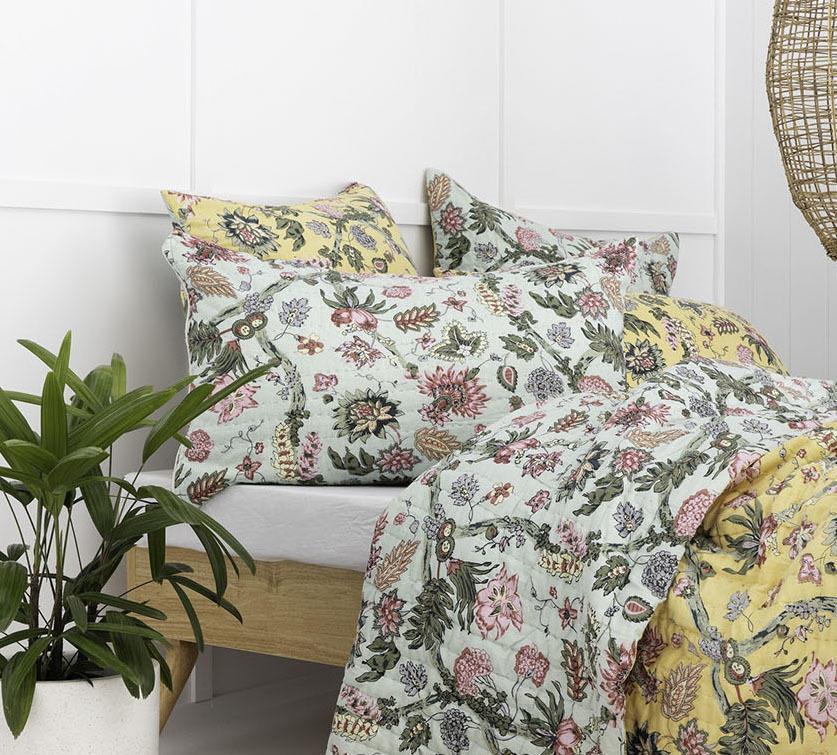 Mint / Yellow Floral Vine Cotton Pillowcase / Euro   Trada Marketplace