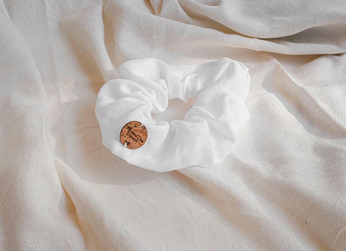 White   Linen Scrunchie   Trada Marketplace