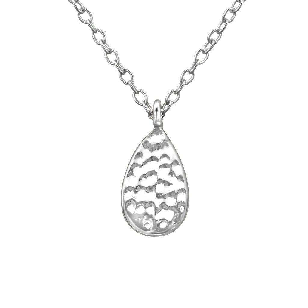 Hammered Teardrop Necklace - Sterling Silver | Trada Marketplace