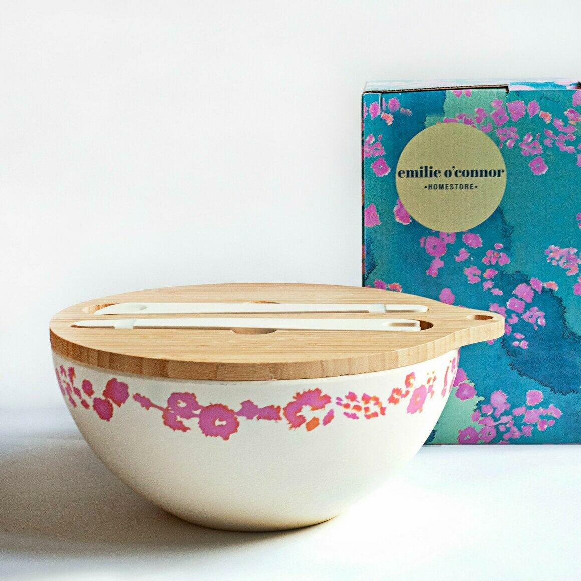 Bamboo serving bowl decorated with Pink Coral Design | Trada Marketplace