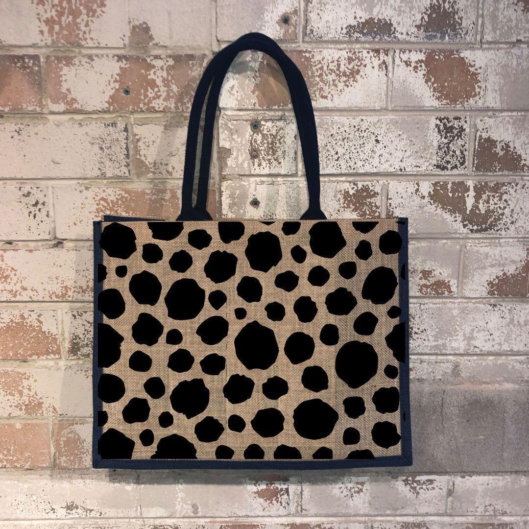 Fashionista Leopard spots Market Shopper Black   Trada Marketplace