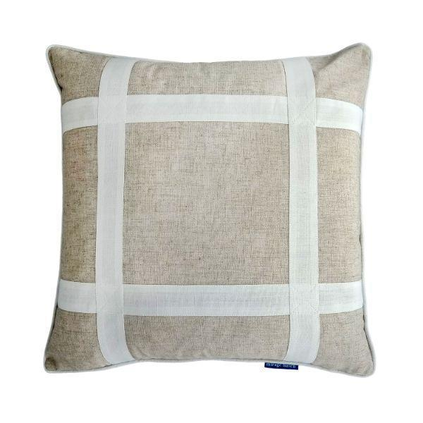 EASTWOOD White and Jute Criss Cross Cushion Cover 50 cm by 50 cm   Trada Marketplace