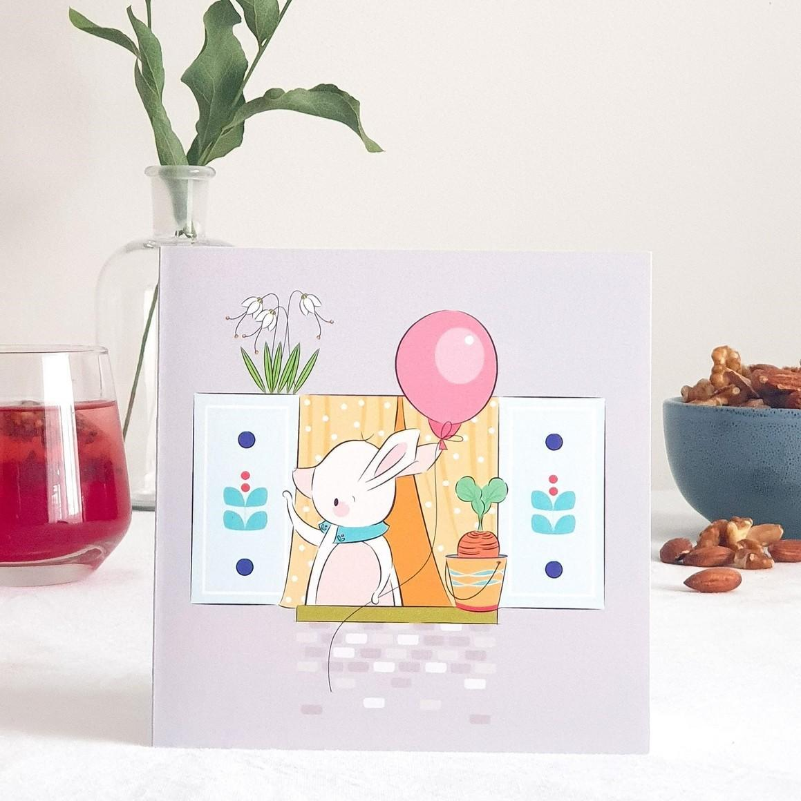 Farewell Rabbit Greeting Card   Trada Marketplace