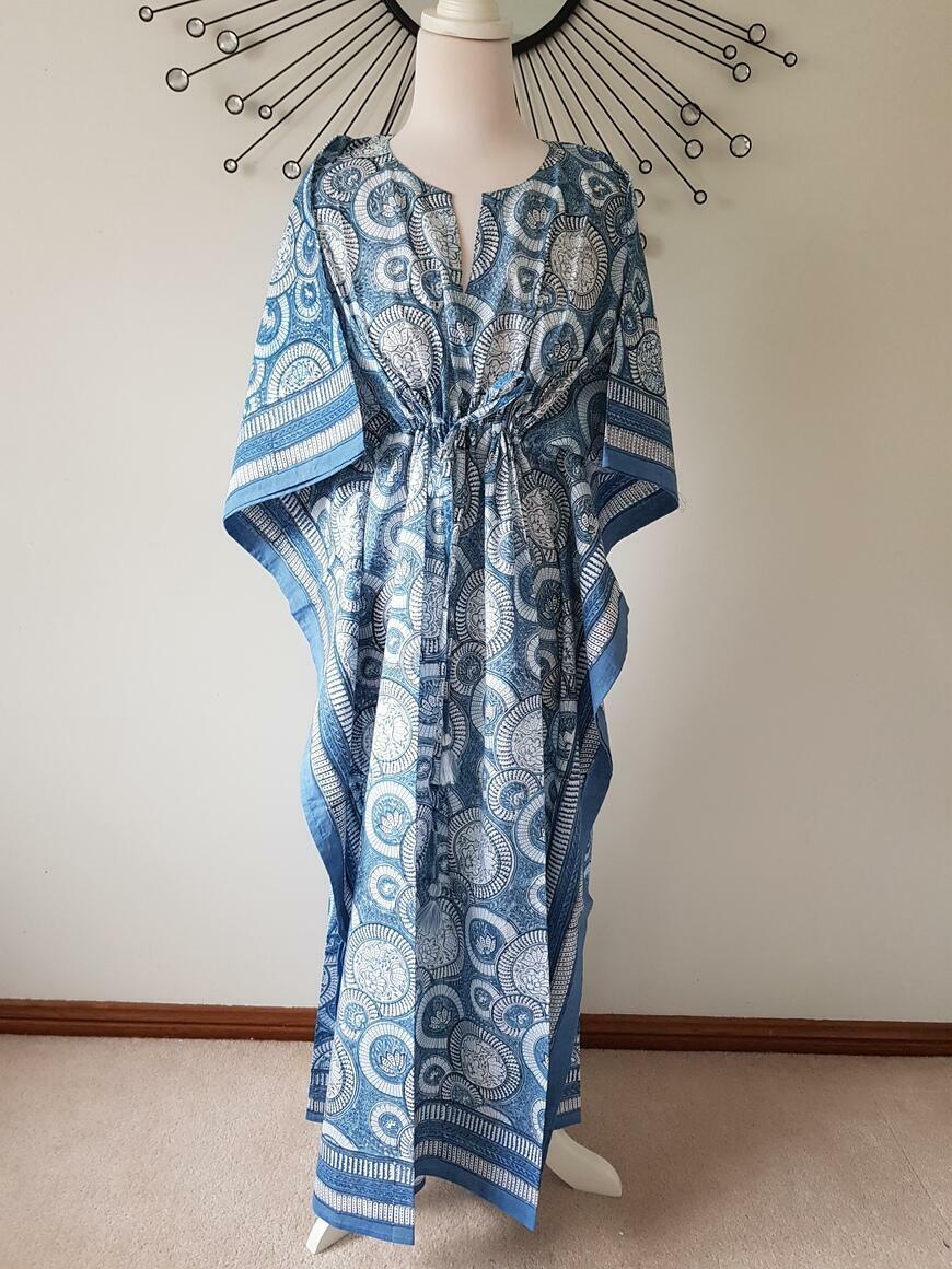 Blue Lotus- Hand Block Print Long Kaftan | Trada Marketplace