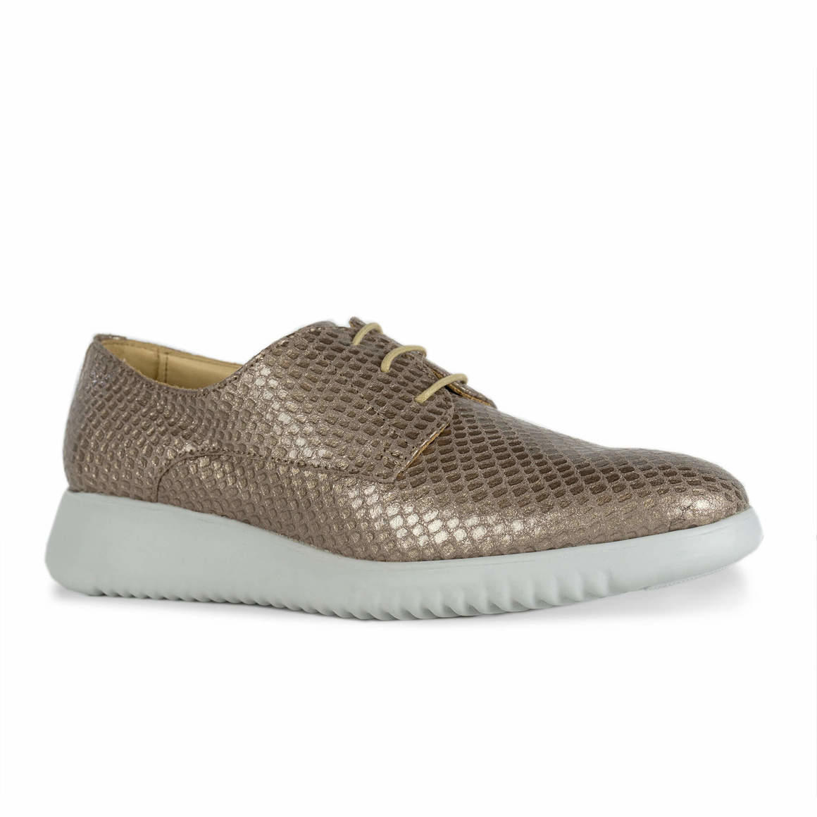 Issy: Metallic Gold Leather Derby   Trada Marketplace