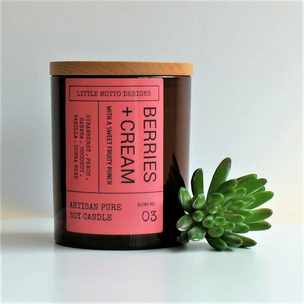 Amber Brights Large Boxed Soy Candle - Berries & Cream | Trada Marketplace