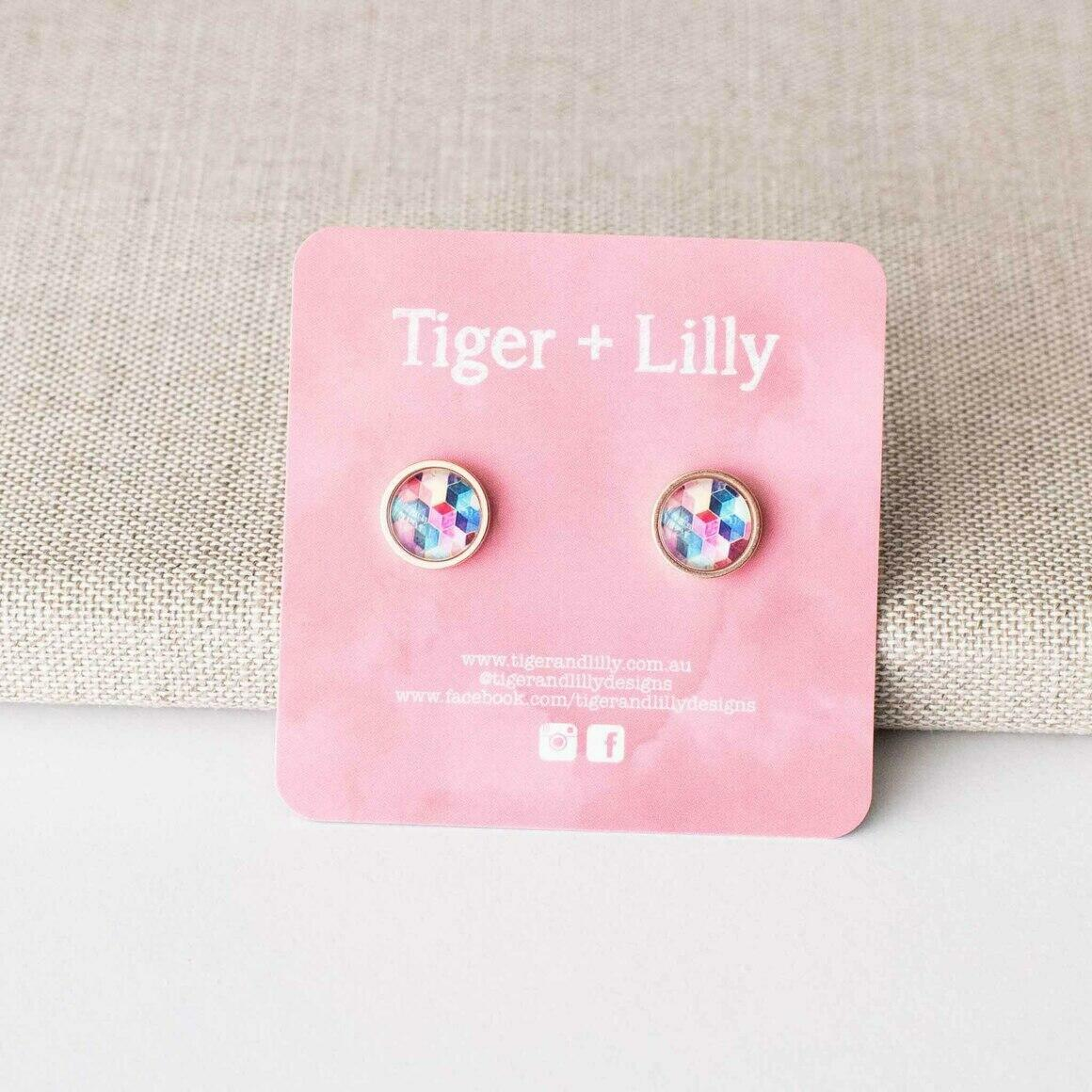 Colourful Honeycomb Studs - Stainless Steel | Trada Marketplace