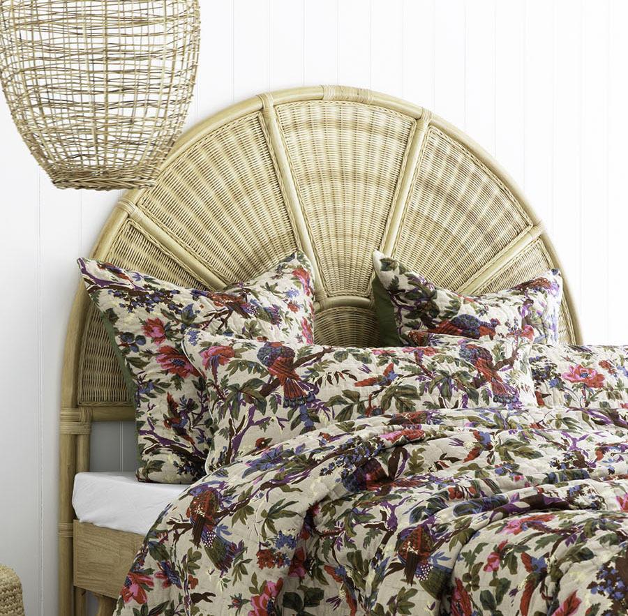 Olive Bird Floral Cotton Pillowcase / Euro   Trada Marketplace