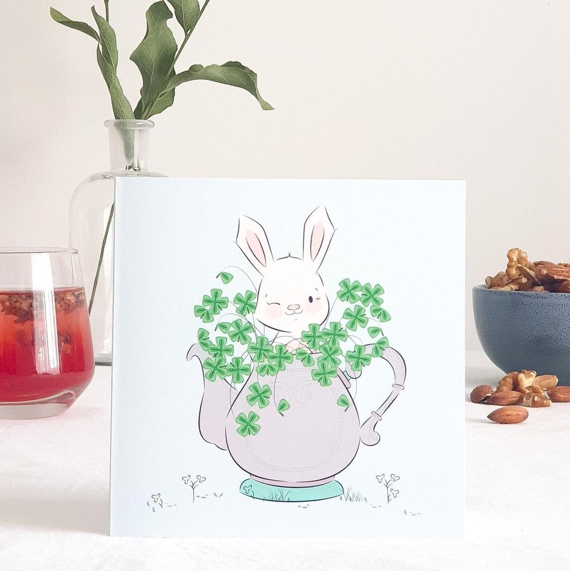 Cheeky Rabbit Greeting Card   Trada Marketplace