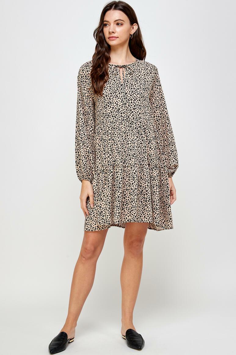 Amelia Animal Print Dress (Beige) | Trada Marketplace