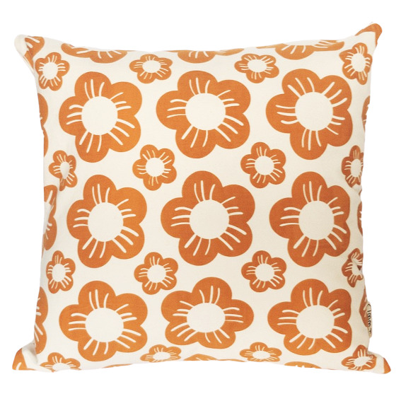 Vintage Inspired Flower Head Hand Screen Printed 100% cotton cushion-3 Colourways-Cover and Insert | Trada Marketplace