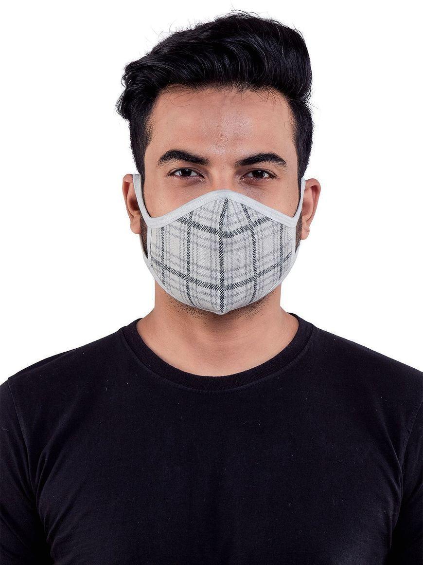 Check-grey-jacquard-three-layer-cotton-mens-mask | Trada Marketplace