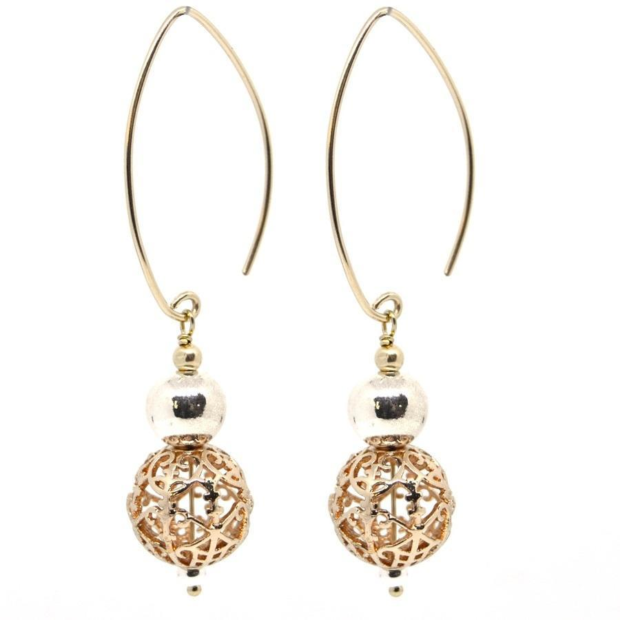 Mia filigree drop Sterling Silver and 14k Gold Earrings | Trada Marketplace