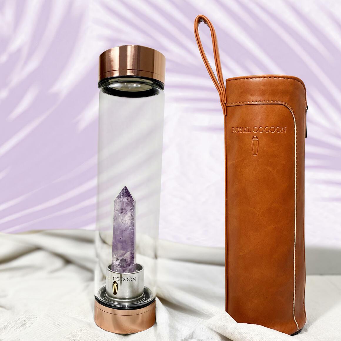 Amethyst ☽ Energy Rich Hydration Bottle Rose Gold    Trada Marketplace