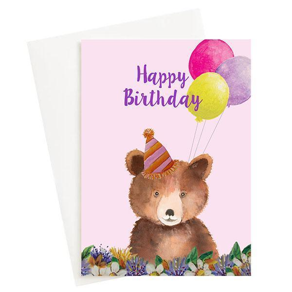 Happy Birthday Bear Greeting Card Pink   Trada Marketplace