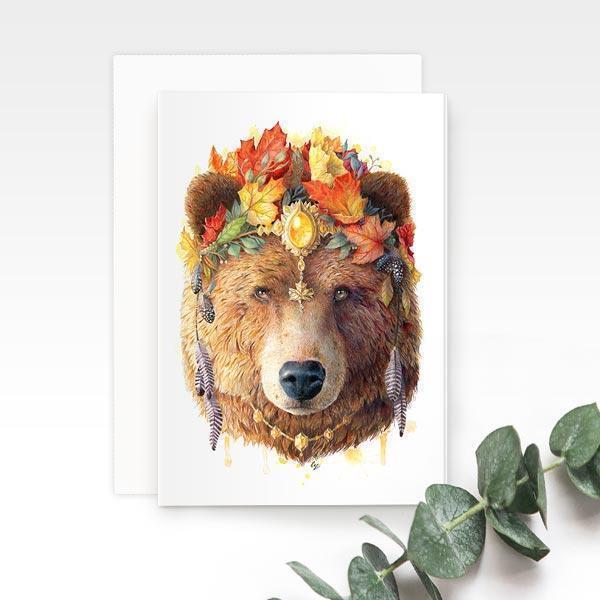 Bohemian Bear Greeting Card | Trada Marketplace