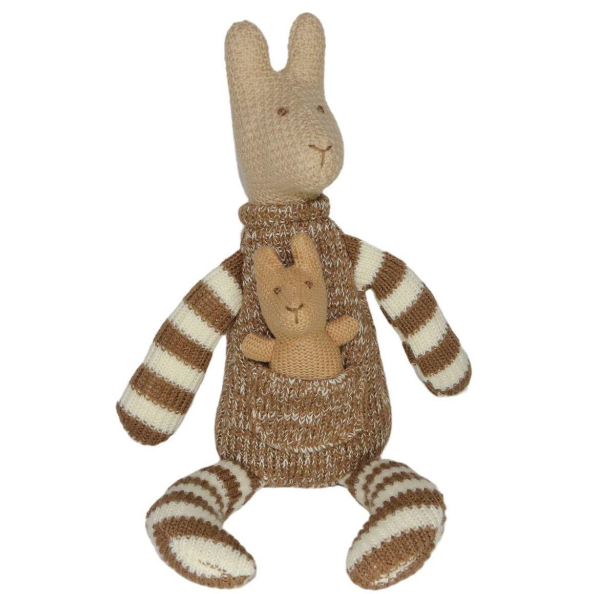 Plush Toy Kangaroo & Baby Joey - Brown/White Stripes    Trada Marketplace