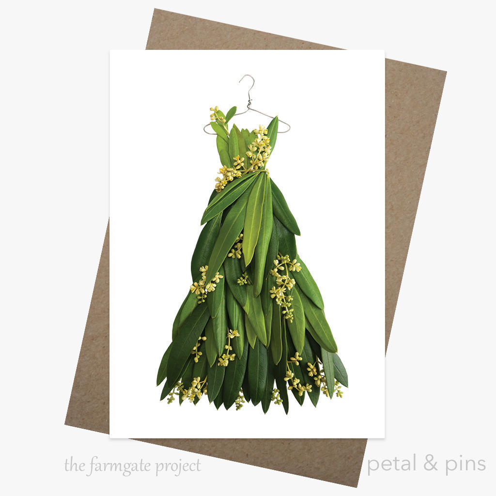 olive blossom dress greeting card | Trada Marketplace