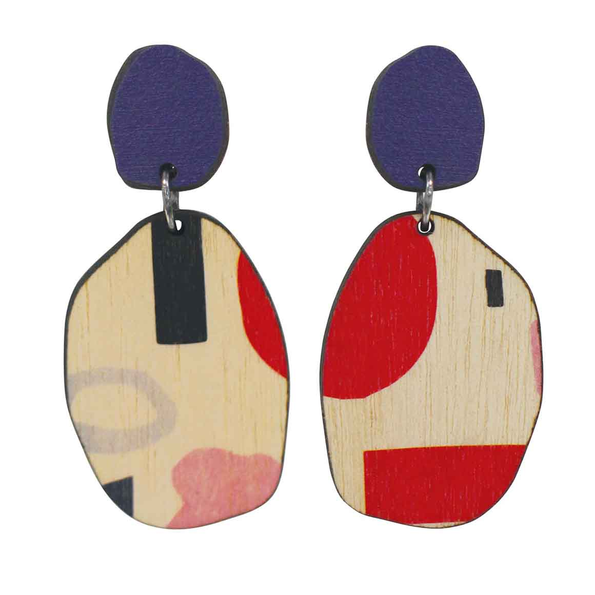 2 tiered Purple abstract earrings   Trada Marketplace