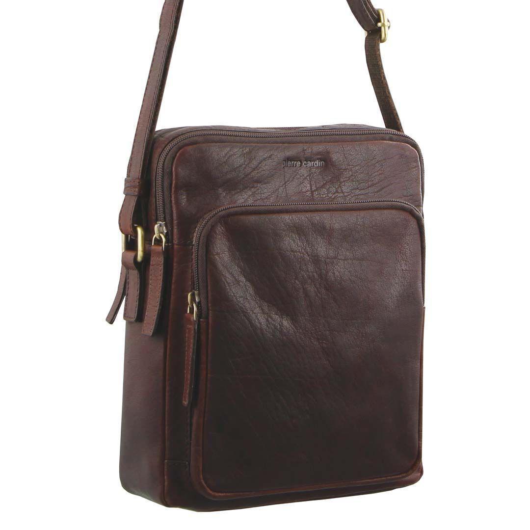 Pierre Cardin Rustic Leather Cross-Body Bag   Trada Marketplace