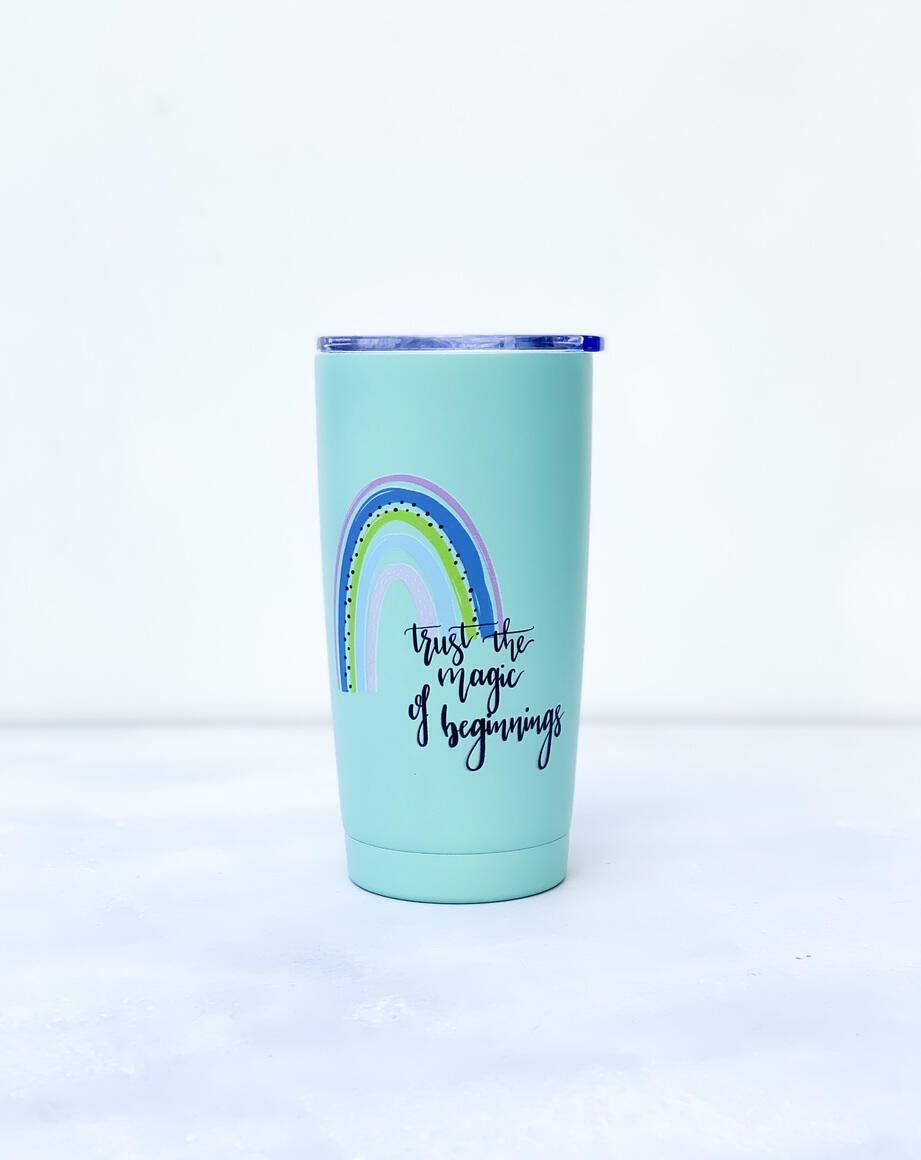 Rainbow Motivational Quote - Mint Infinity tumbler.   Trada Marketplace