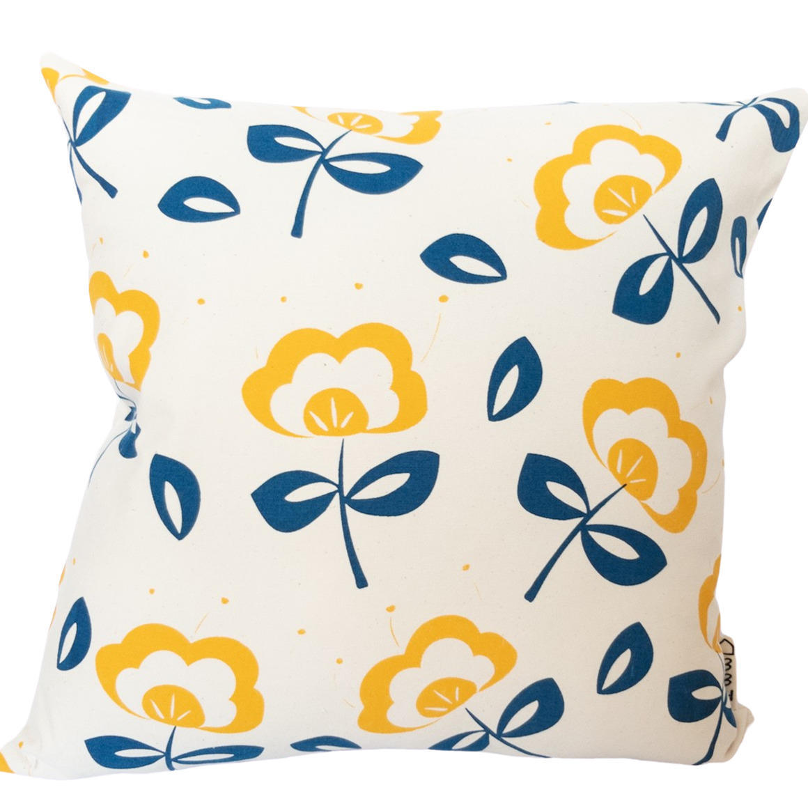 Vintage Inspired  Flower Hand Screen Printed 100% cotton cushion cover- 3 Colourways-Cover and Insert | Trada Marketplace