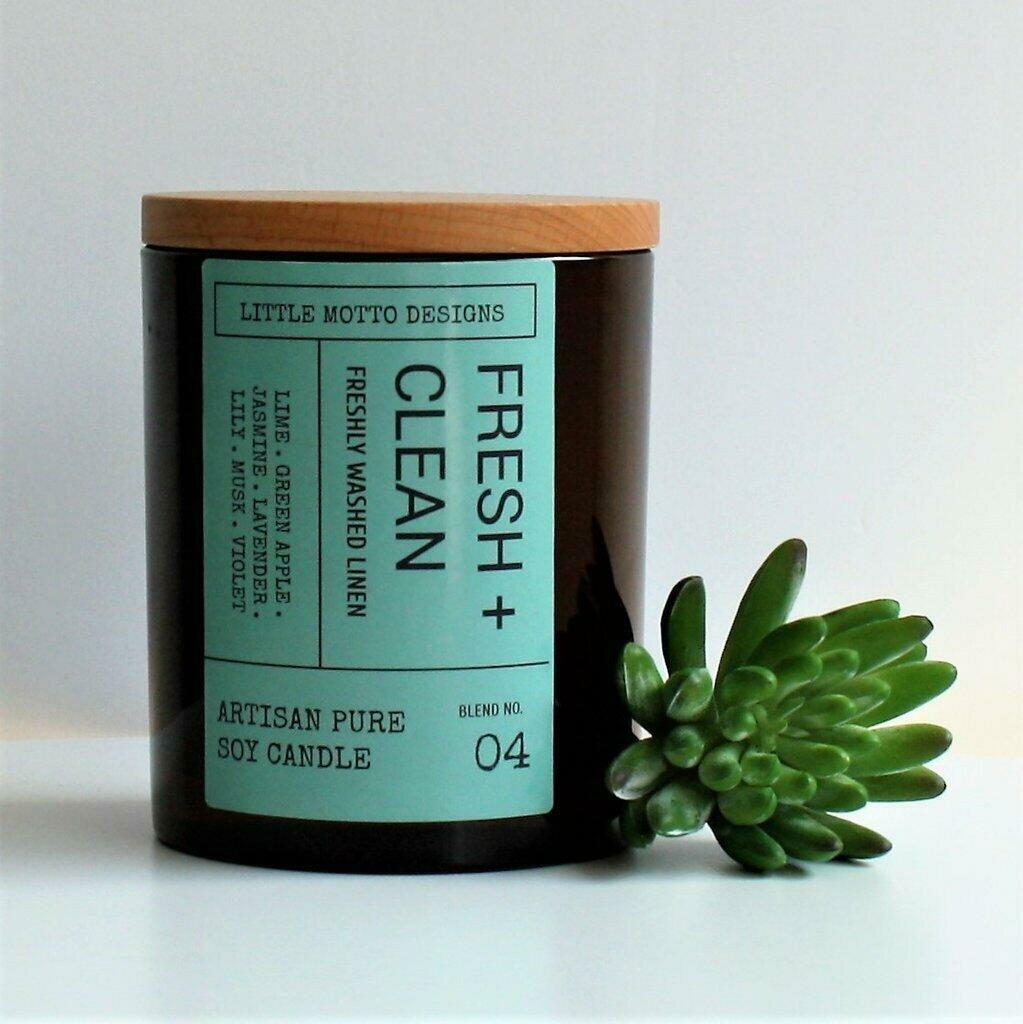 Amber Brights Large Boxed Soy Candle - Fresh & Clean | Trada Marketplace