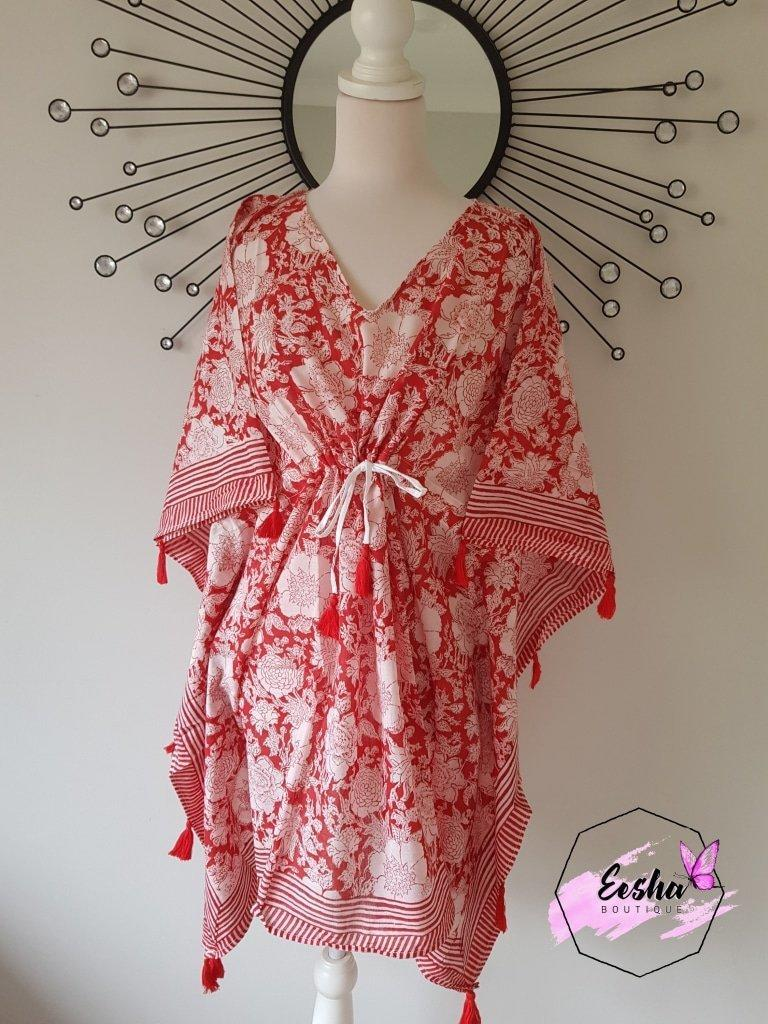 Short Kaftan - Red with Tussles | Trada Marketplace