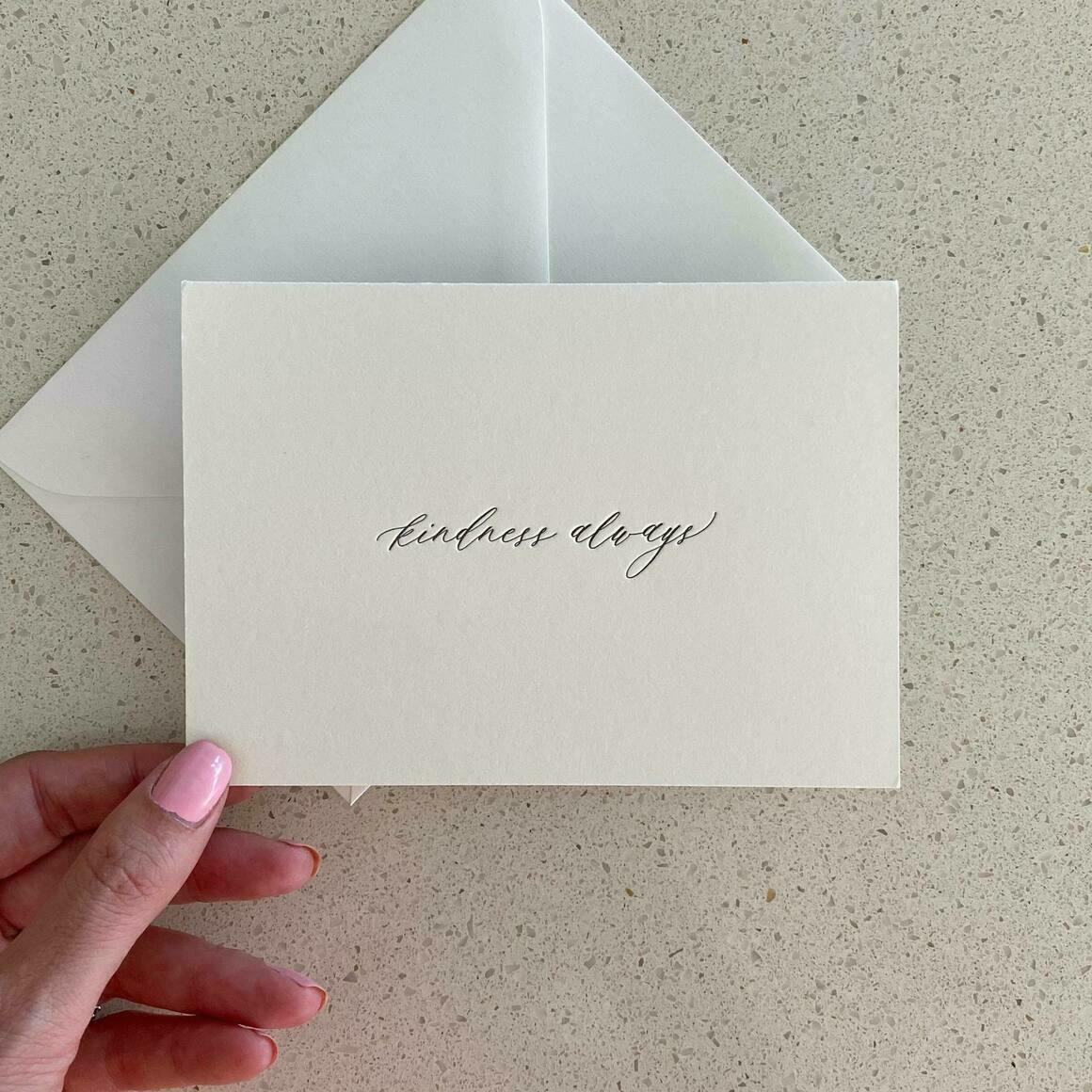Kindness Always   Letterpress Greeting Card   Trada Marketplace