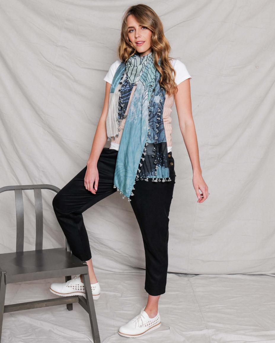 Silk-cotton tassel scarf | NOON | Trada Marketplace