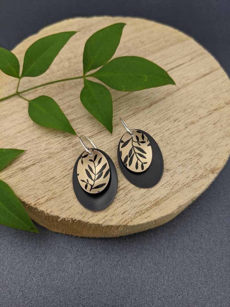 FOLIAGE - small double oval earrings   Trada Marketplace