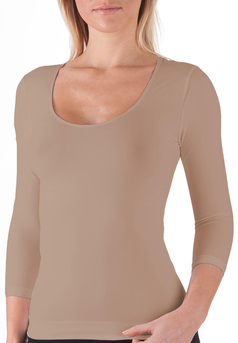 Seamless 3/4 Sleeve Scoop Neck Top - Taupe | Trada Marketplace