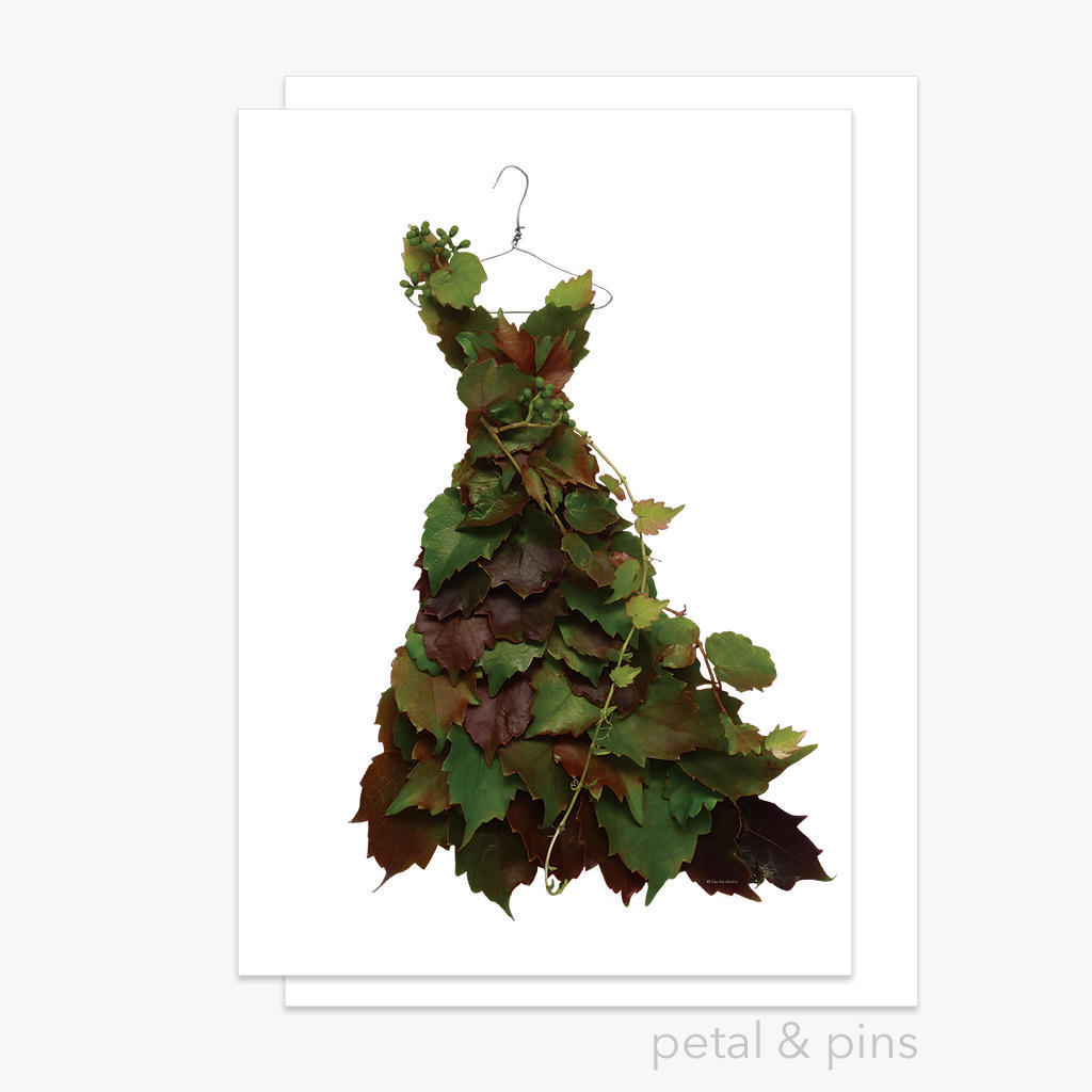autumn grapevine dress greeting card | Trada Marketplace