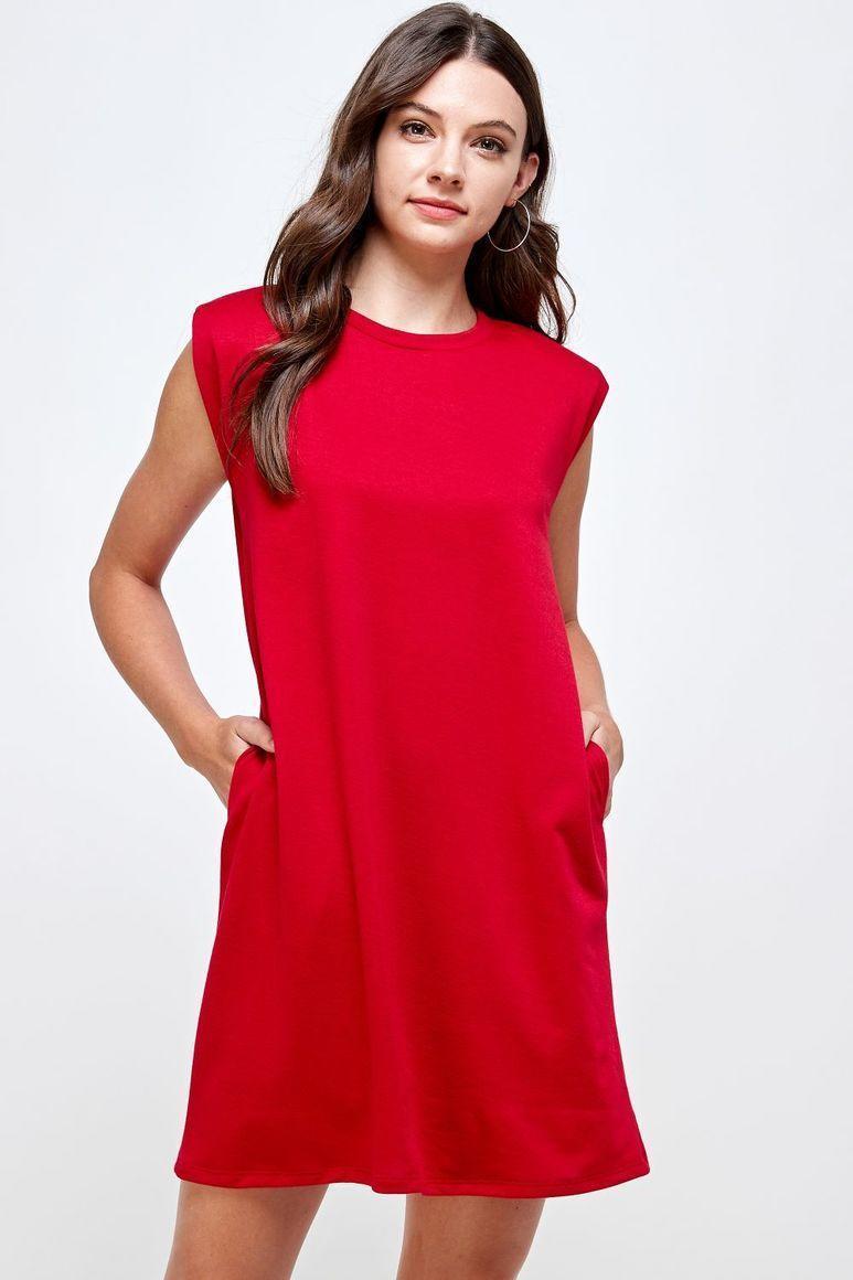Joyous Shoulder Pad Dress - Red   Trada Marketplace