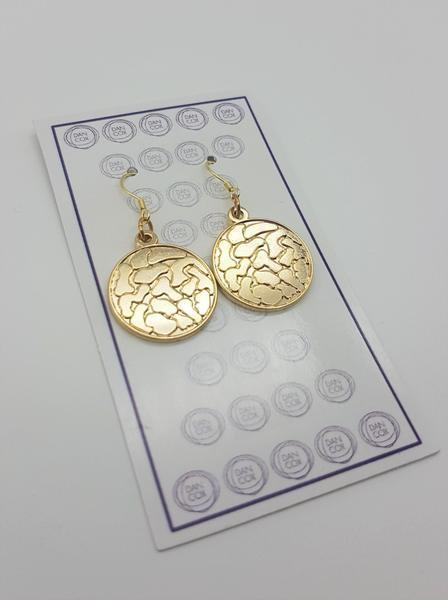 Octo Round Yellow Gold Plate Alloy Earrings Stainless Steel Hooks  | Trada Marketplace