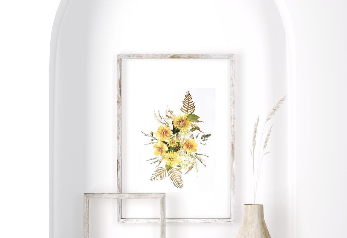 Falling pyrethrum pressed flowers Art Print With Gold Flake   Trada Marketplace