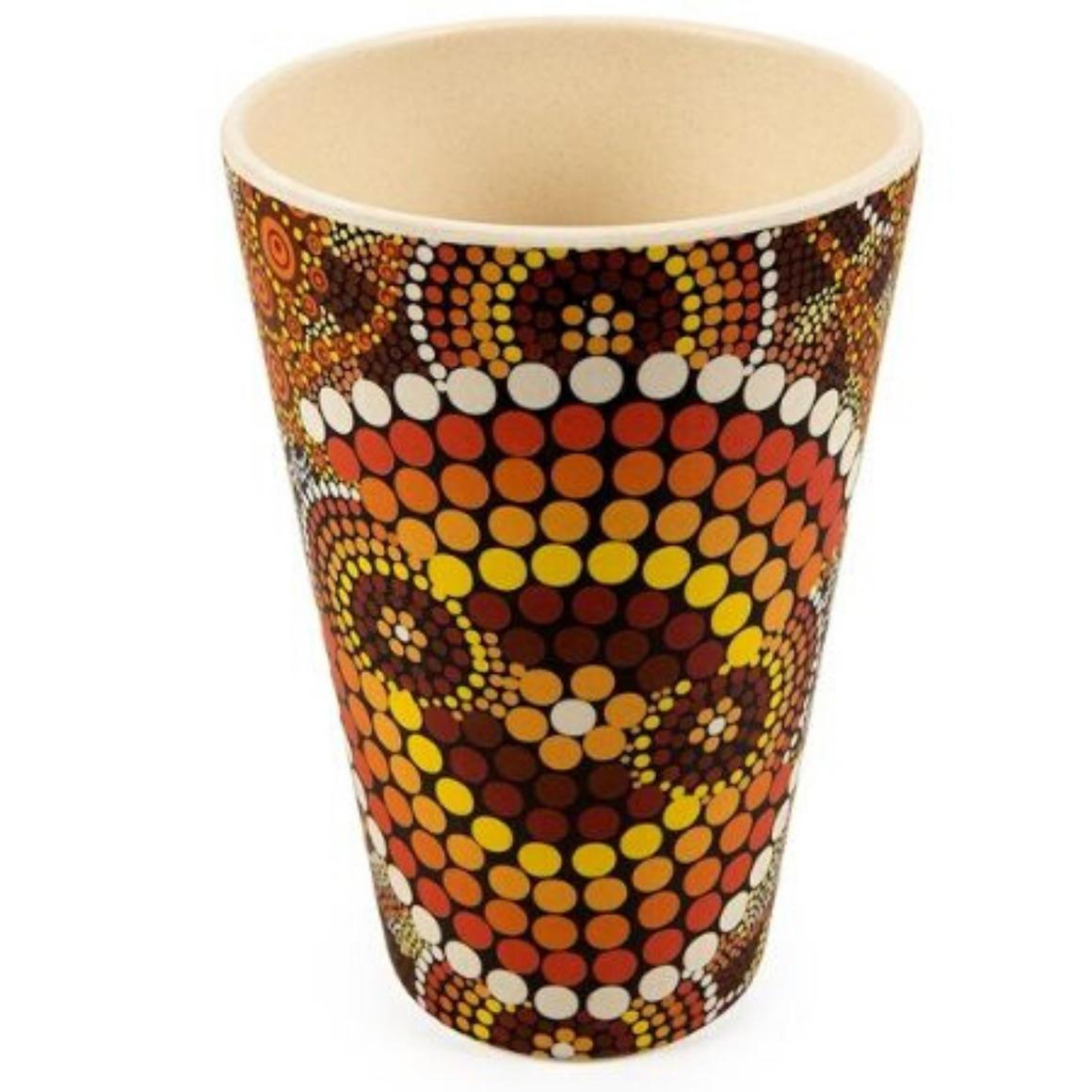 Tumblers Bamboo Aboriginal Design  - Colours of the Land Design - Colin Jones  (Set of 2)   Trada Marketplace