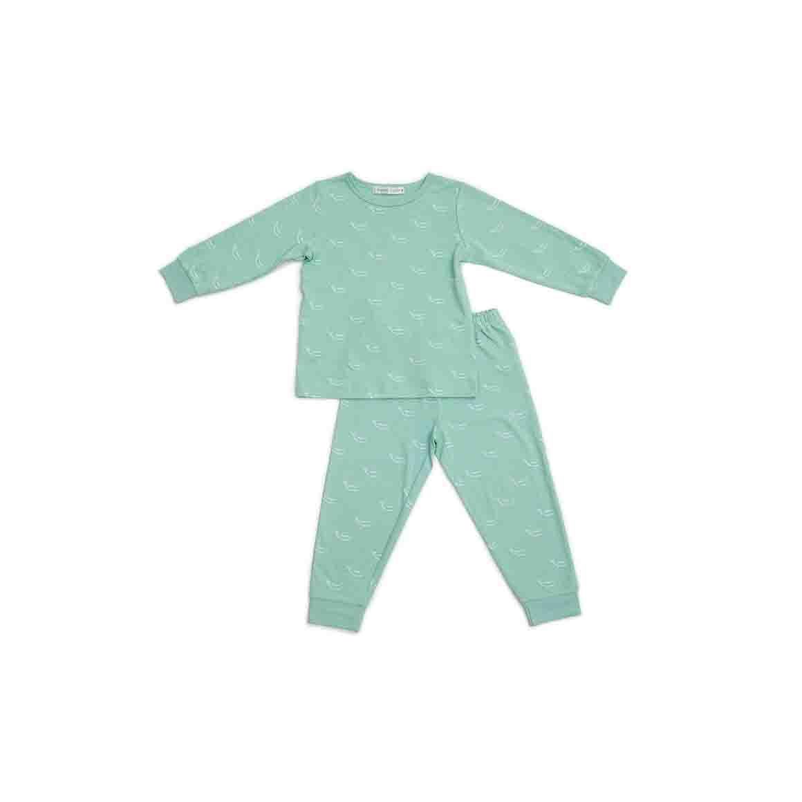 Autumn/Winter Childrens Pyjama Set - Sage Green in Tiny Whales Print   Trada Marketplace
