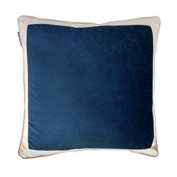 CALDER Dark Blue and White Border Velvet Cushion Cover 50 cm by 50 cm   Trada Marketplace
