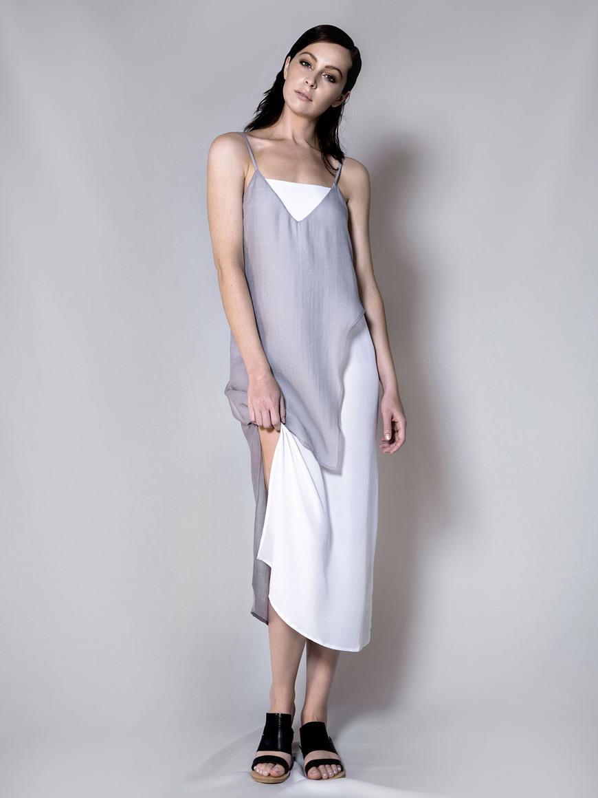 SILK LAYER SLIP DRESS (SILVER GREY) | Trada Marketplace