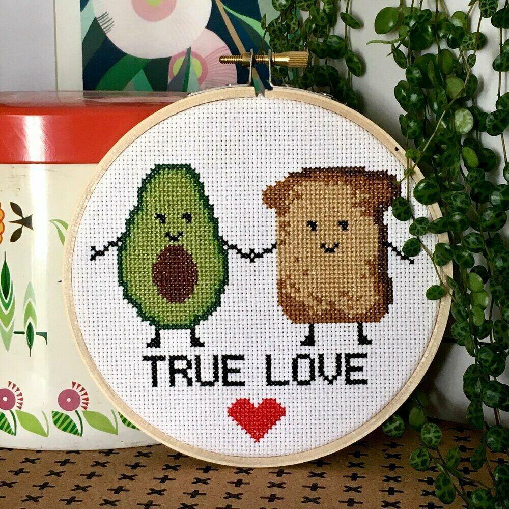 Avo toast cross stitch kit   Trada Marketplace