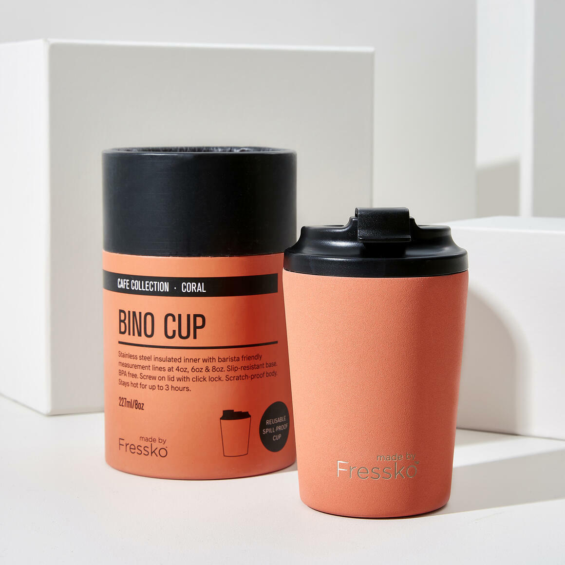 Fressko BINO 8oz Stainless Steel Reusable Cup CORAL | Trada Marketplace