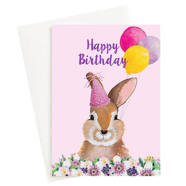 Happy Birthday Bunny Greeting Card Pink   Trada Marketplace