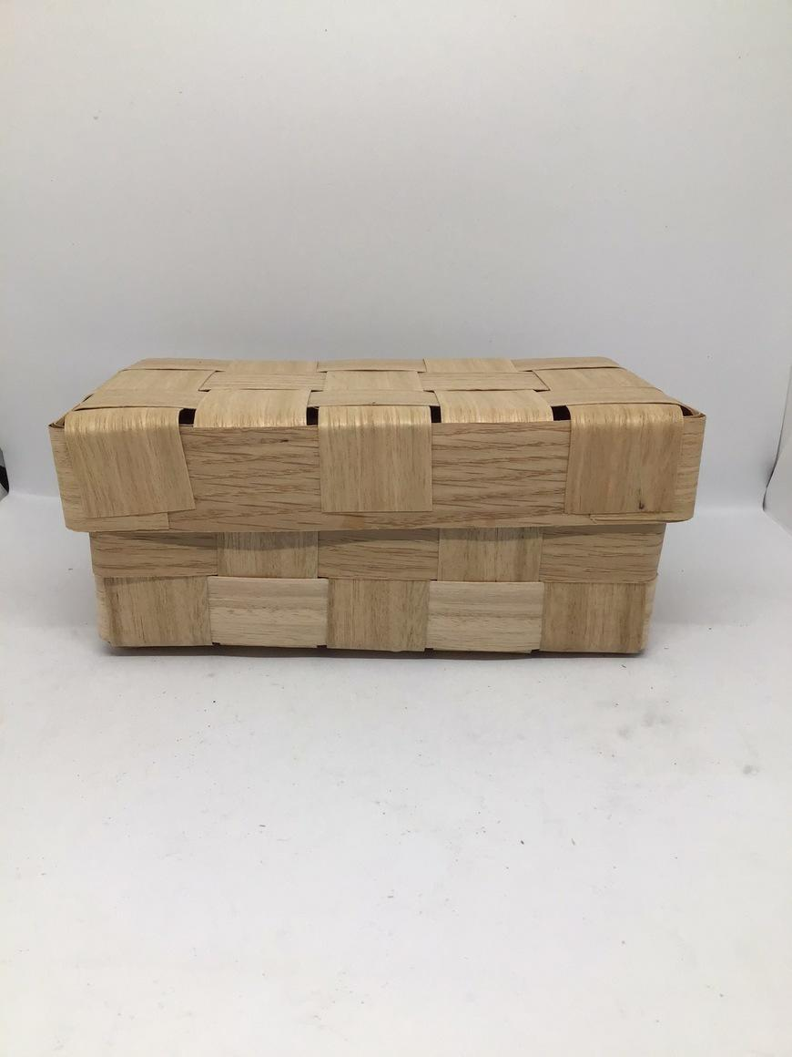 Wooden Box with lid (10x20x9cm) Woven from reclaimed timber veneer. Gift Box, Hamper | Trada Marketplace