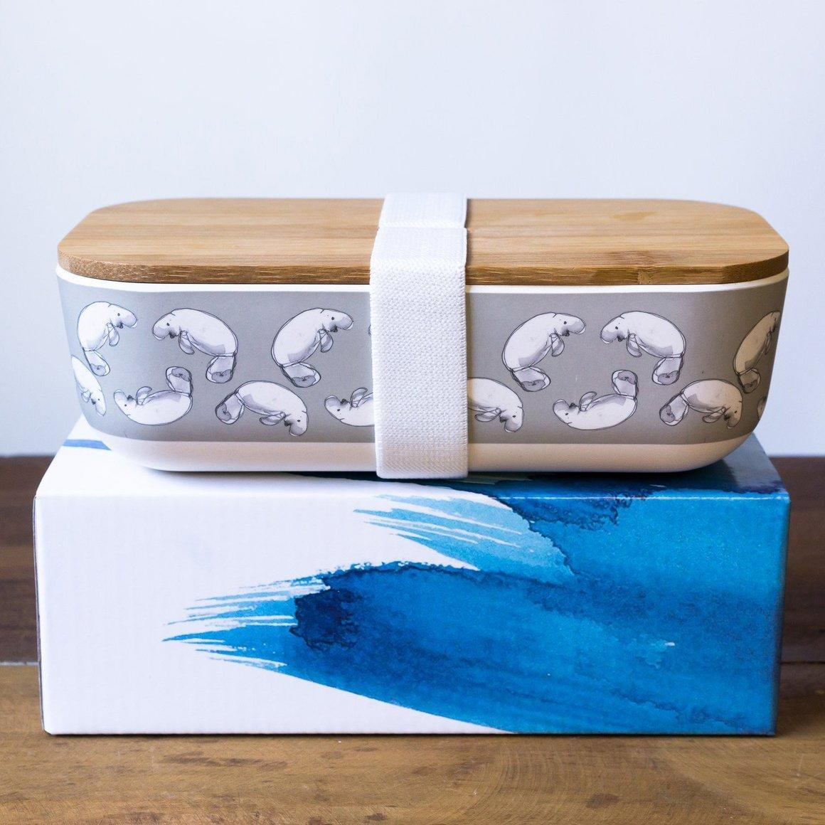Bamboo lunch box with Dugong design | Trada Marketplace