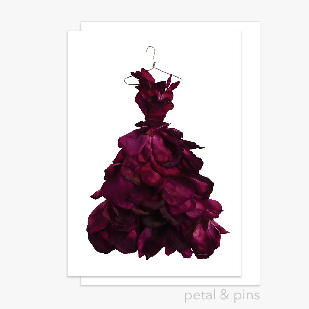 red wine rose gown greeting card | Trada Marketplace