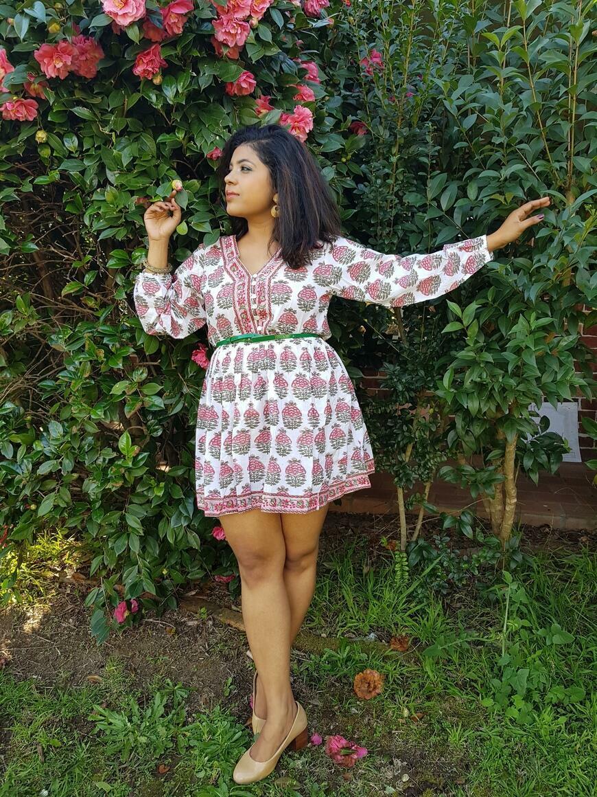 Eka -Hand Block Print Cotton Boho Short Dress | Trada Marketplace