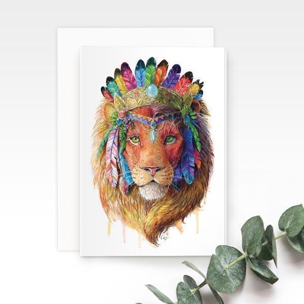 Bohemian Lion Greeting Card | Trada Marketplace