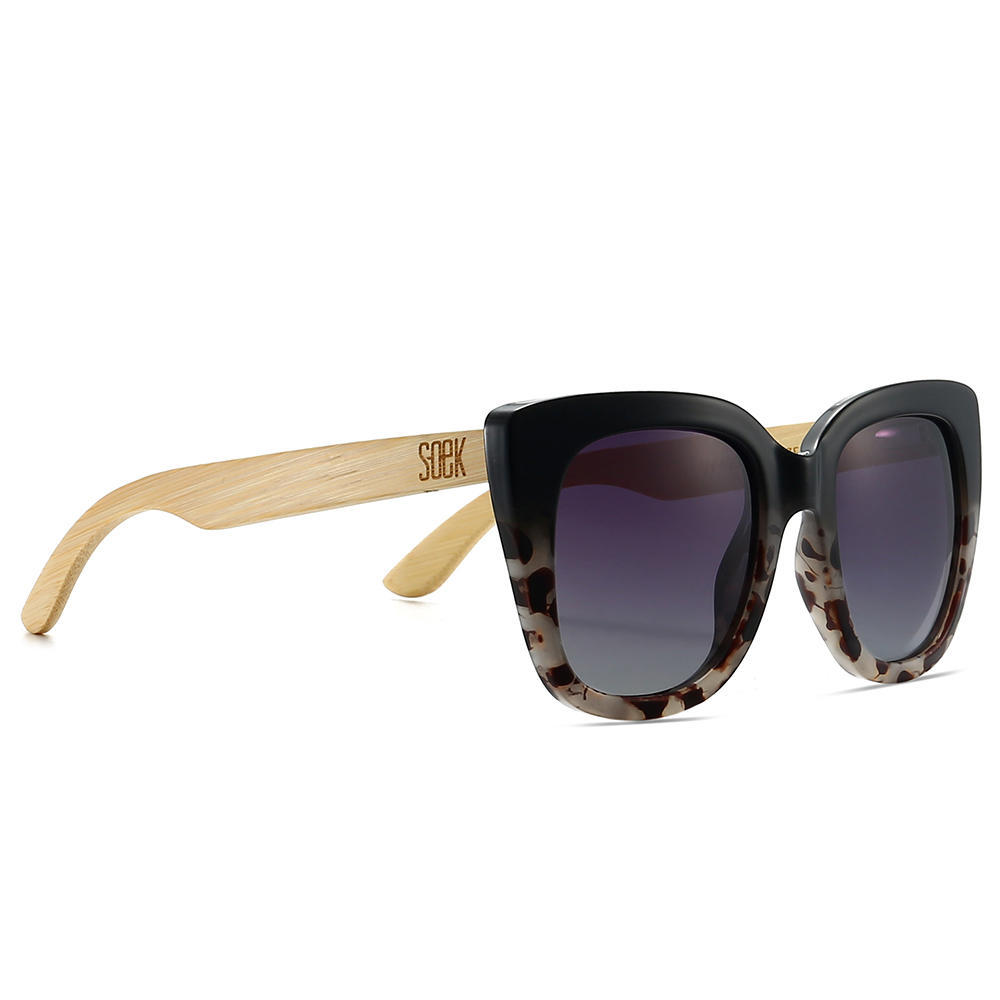 RIVIERA BLACK/IVORY TORTOISE - Black Graduated Lens with Bamboo Arms | Trada Marketplace